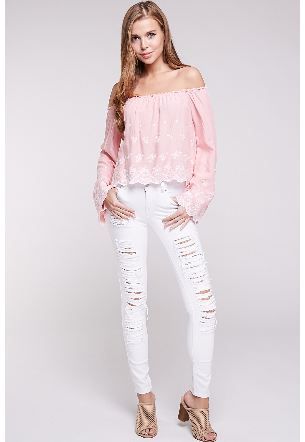 Off-The-Shoulder Embroidery Accented Top