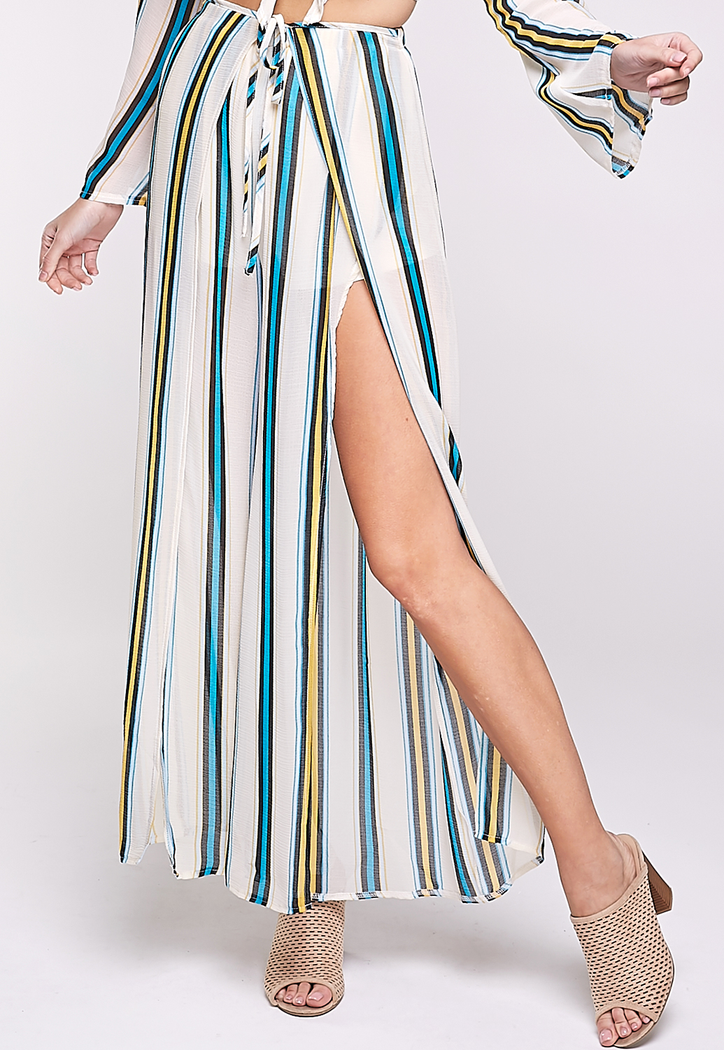 Pinstriped Slit Detail Pants