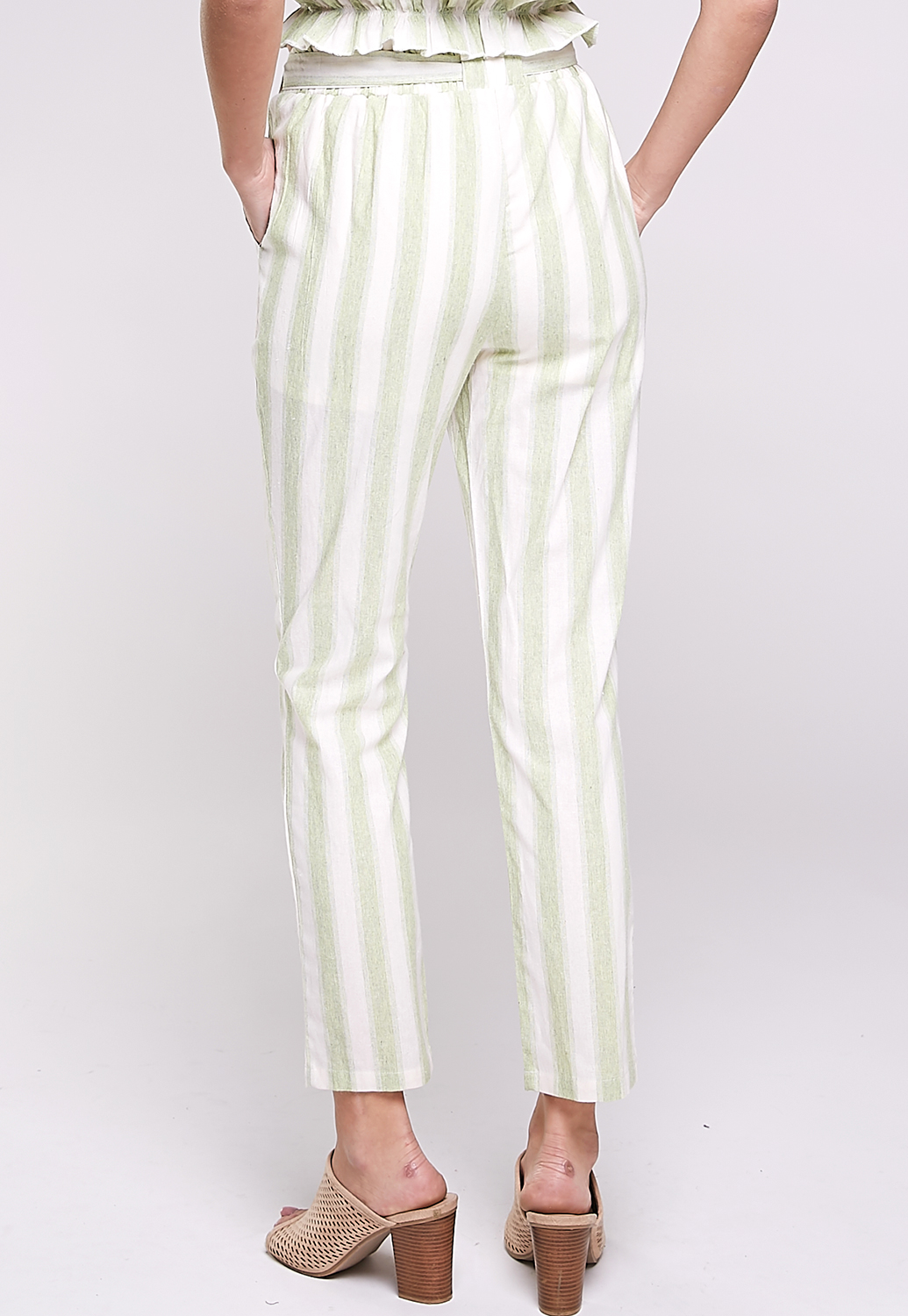 Pinstriped Waist Ruffle Detail Pants