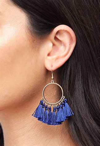 Tassel Drop Hoop Earrings