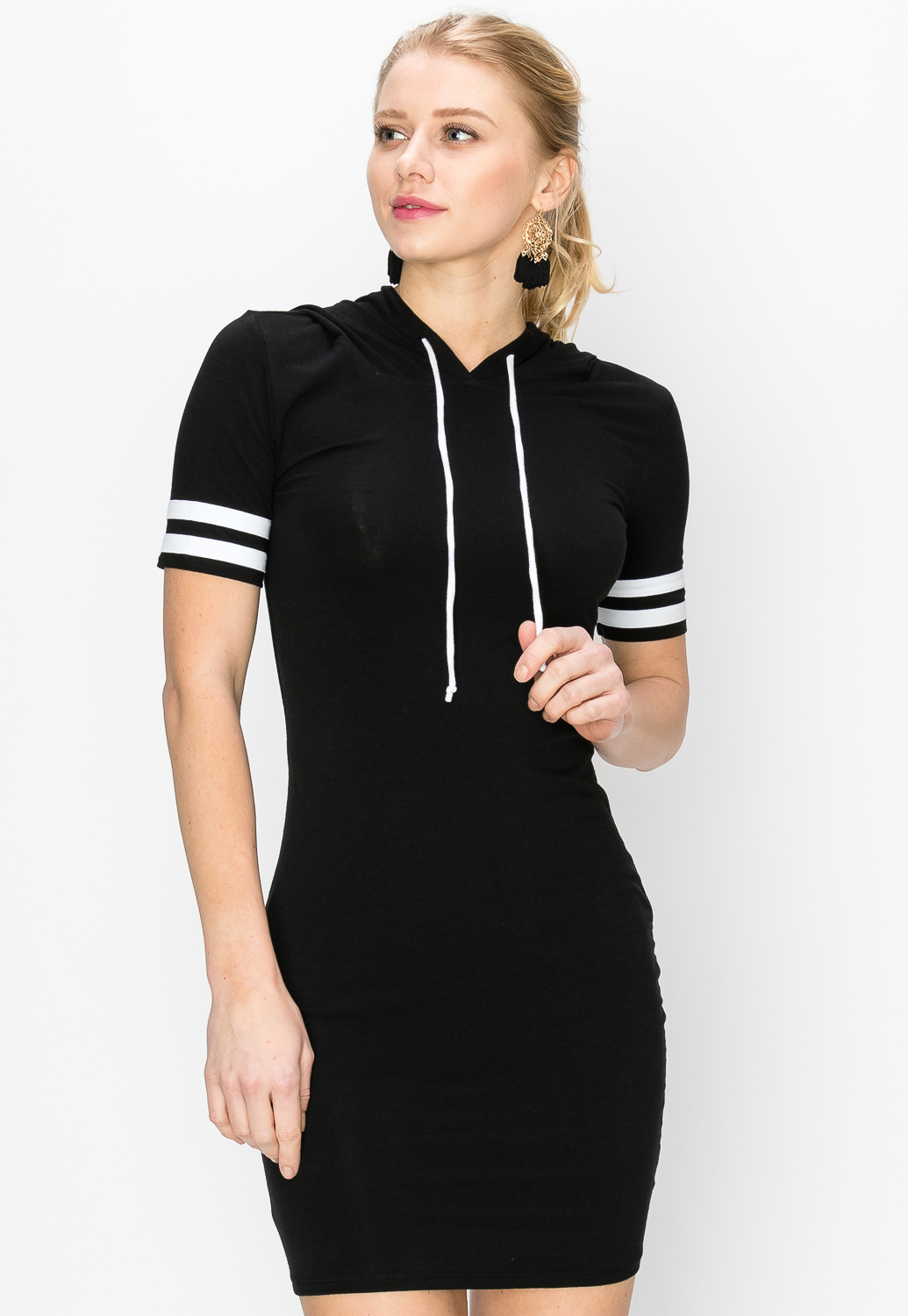 Varsity Striped Hooded Dress