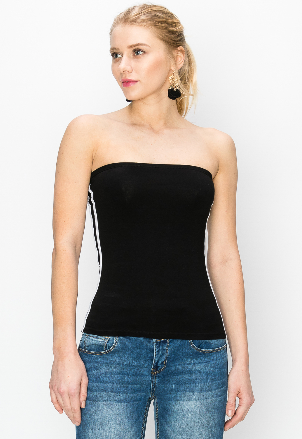 Side Striped Tube Top