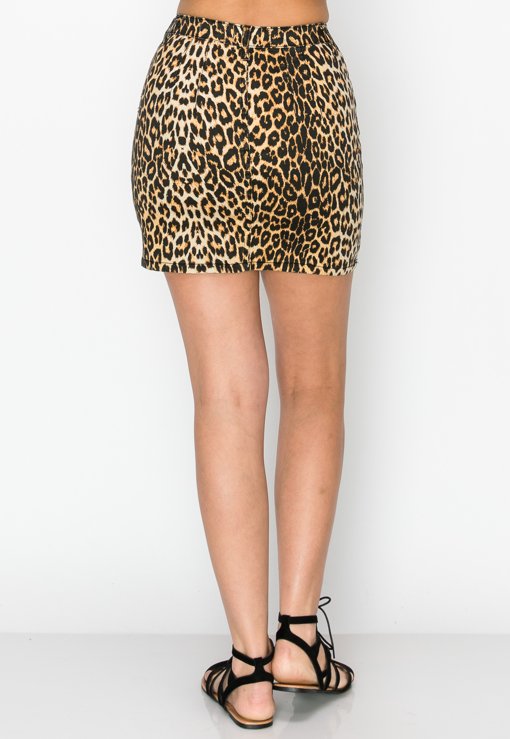 Leopard Print Denim Skirt