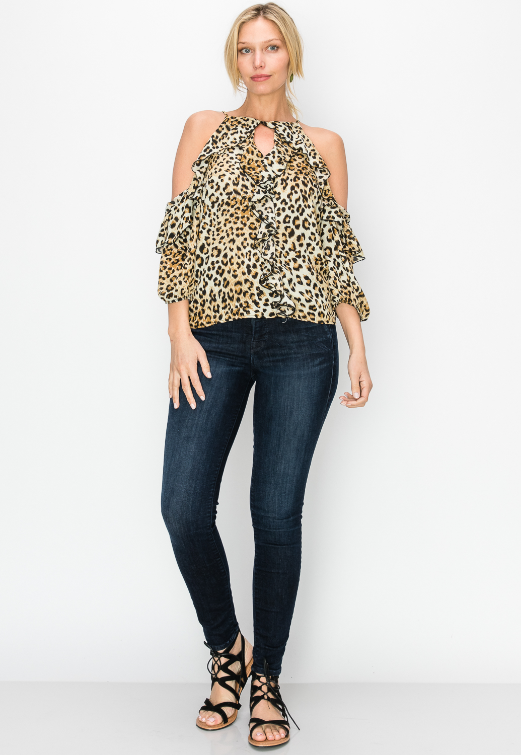Leopard Print Open Shoulder Top