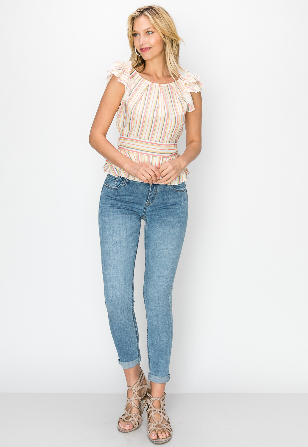 Striped Ruffle Sleeve Casual Top