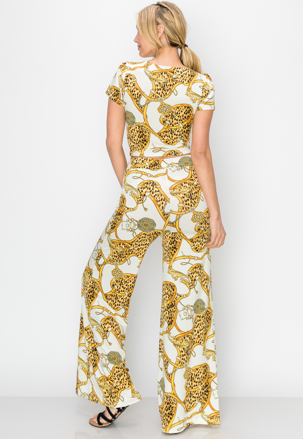 Ornate Print Top & Palazzo Pants Set