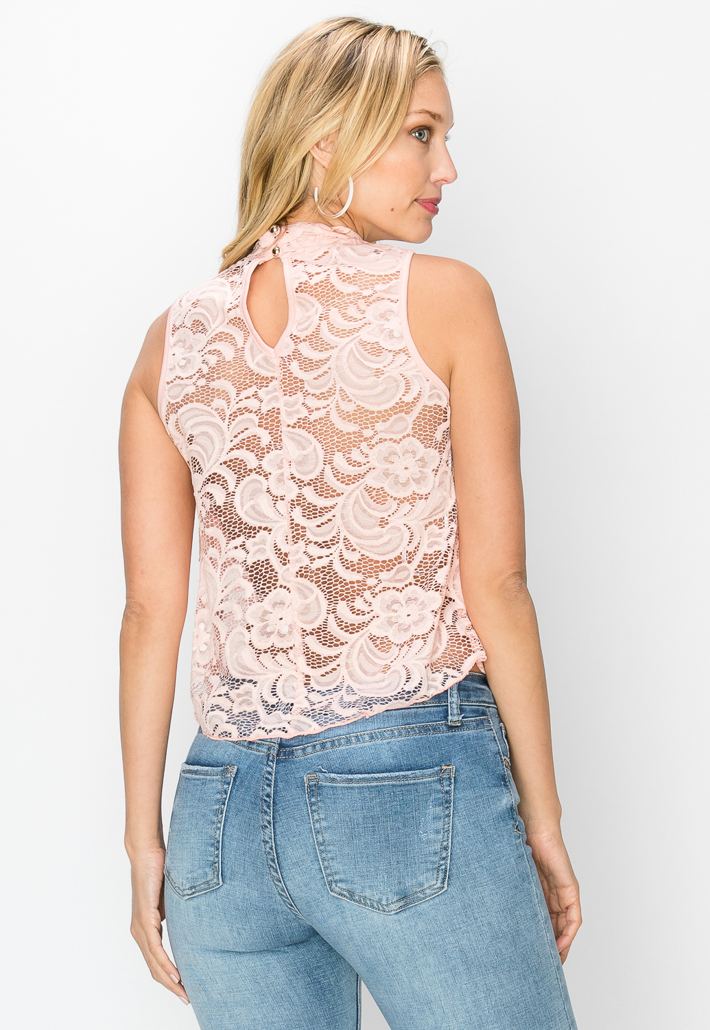 Floral Lace W/Necklace Dressy Top