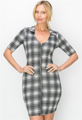 Plaid Front Zip-Up Mini Dress