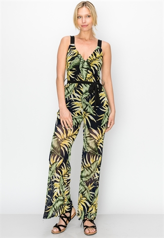 Sheer Mesh Leaf-Print Jumpsuit