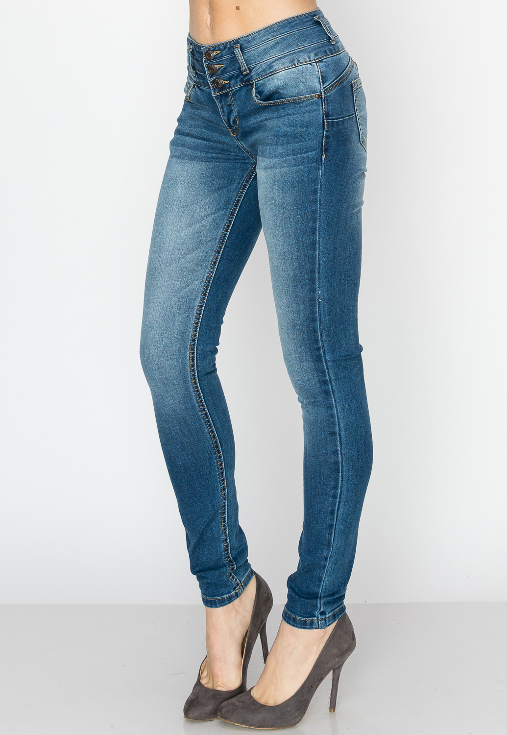 High Rise Multi Button Skinny Jeans