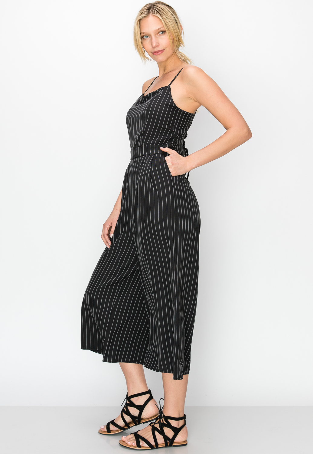 Pinstriped Lace-Up Back Jumpsuit