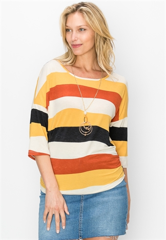 Striped Side Ruched Dressy Top W/Necklace