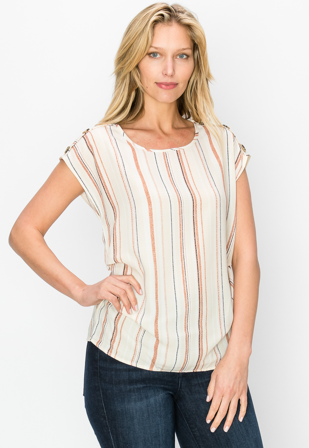 Pinstriped Side Ruched Dressy Top