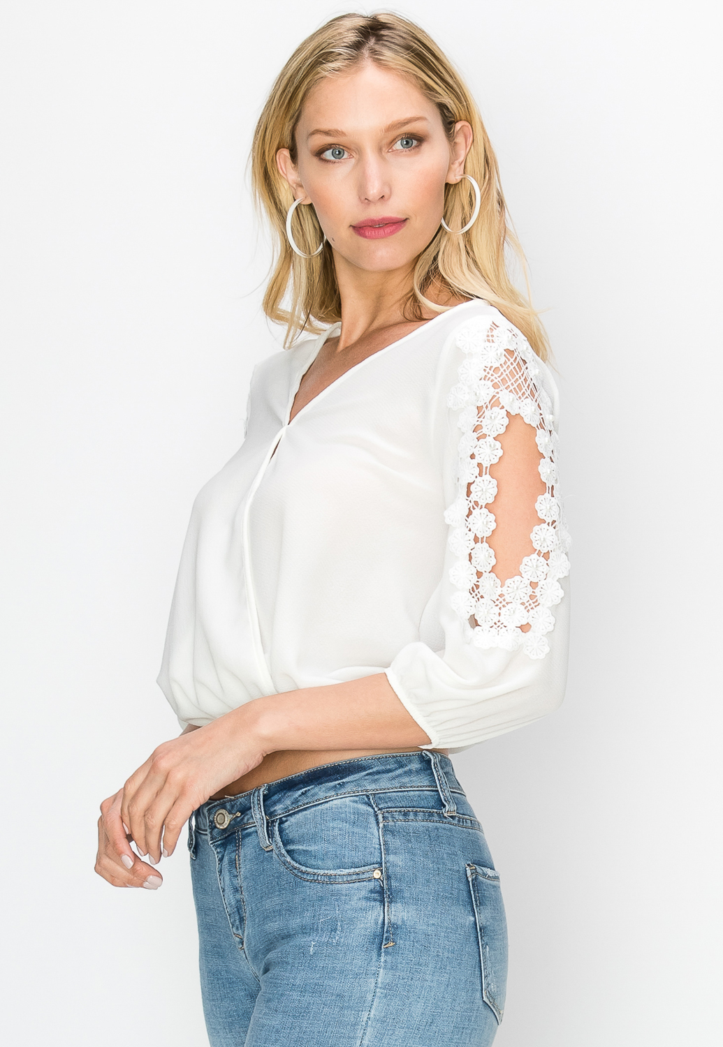 Crochet Trim Faux Pearl Embellished Dressy Top