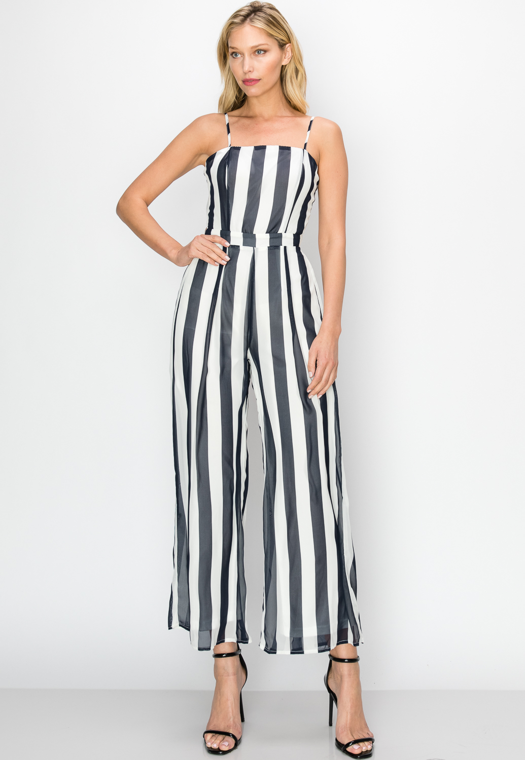 Pinstriped Tie-Back Jumpsuit