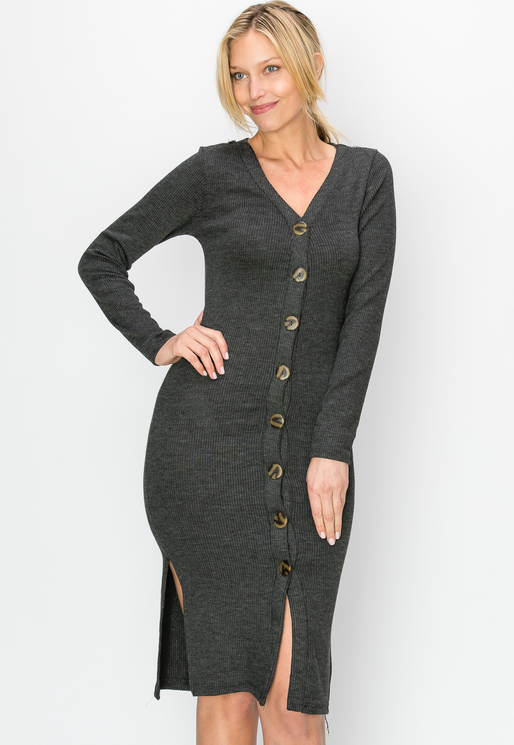 Ribbed Button Up Midi Dress
