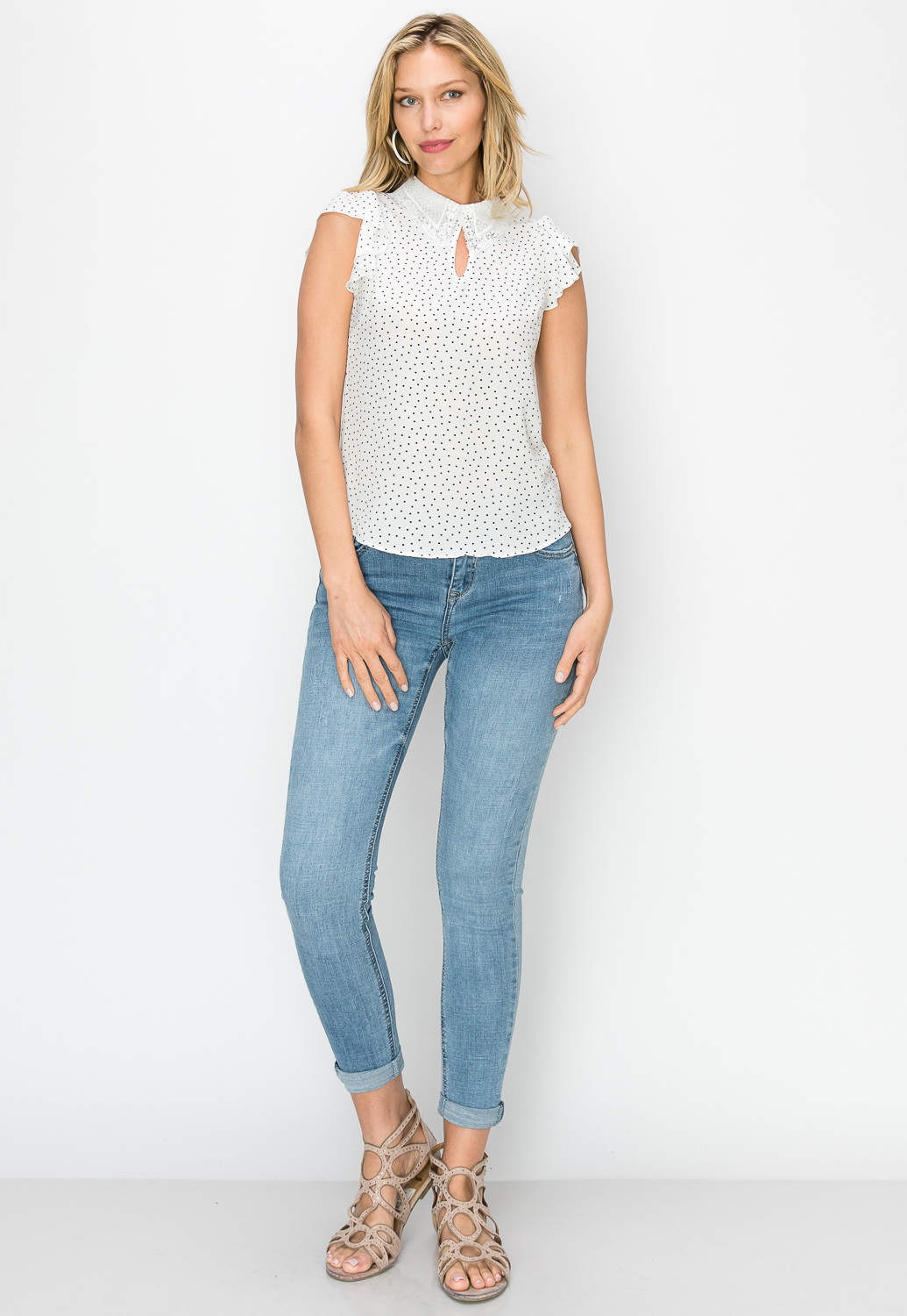 Polka Dot Keyhole Detail Top