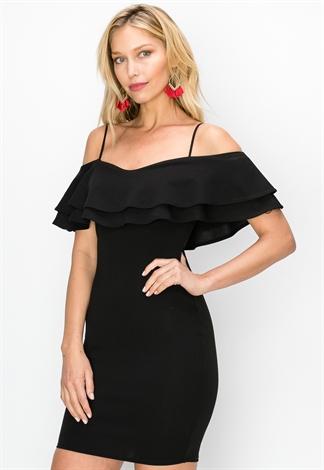 Ruffle Trim Open Shoulder Bodycon Dress