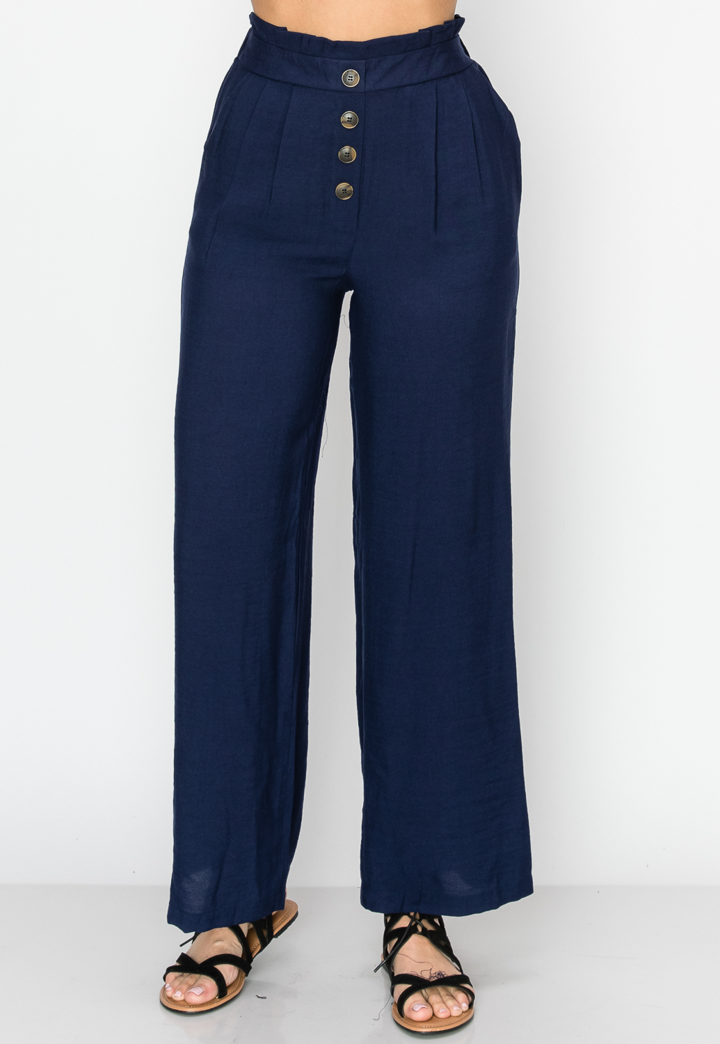 Front Button Detail Casual Pants