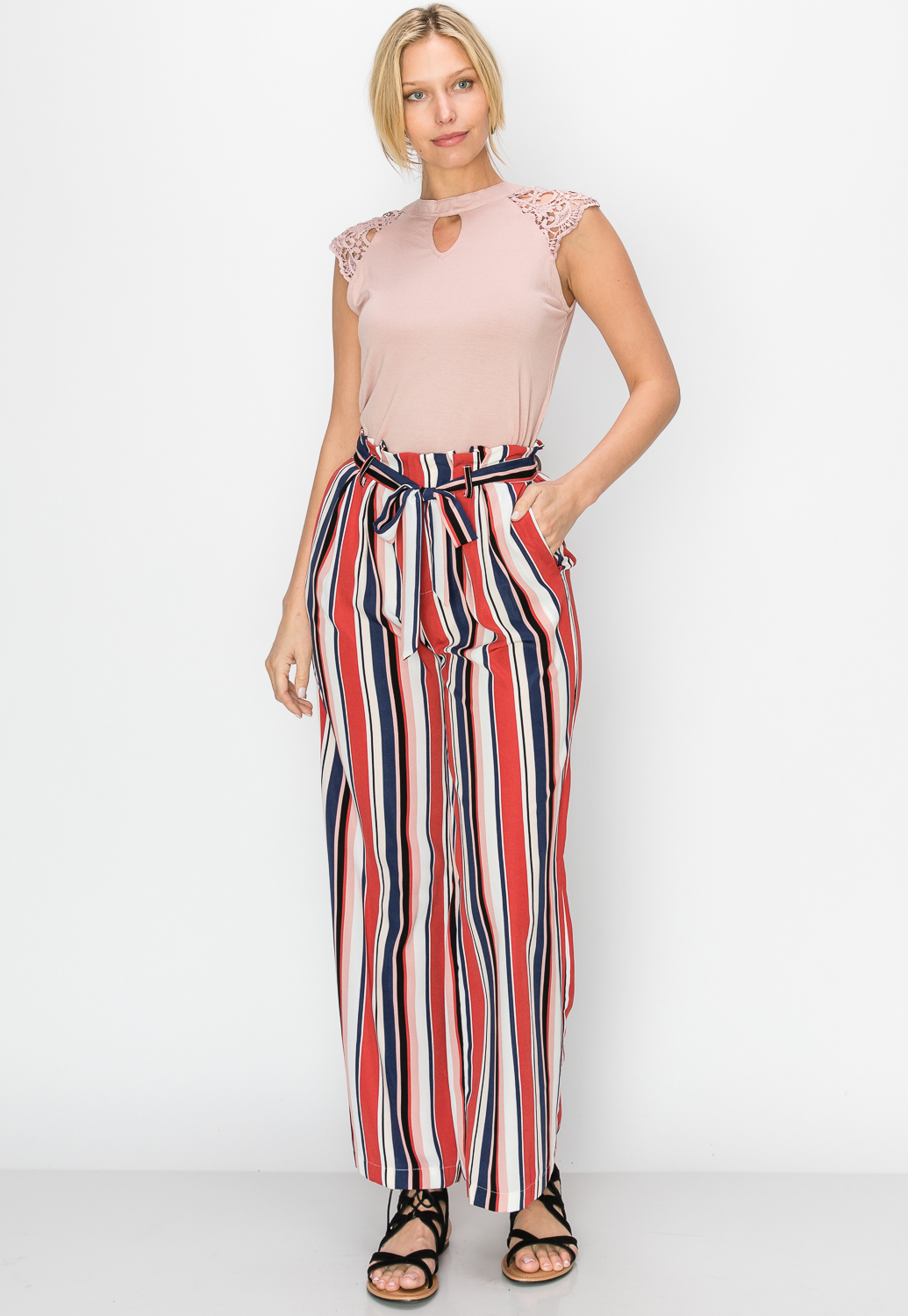 Multi-Color Pinstriped Casual Pants