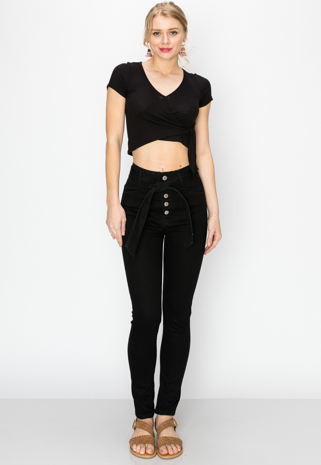 Multi-Button Tie Front Skinny Jeans