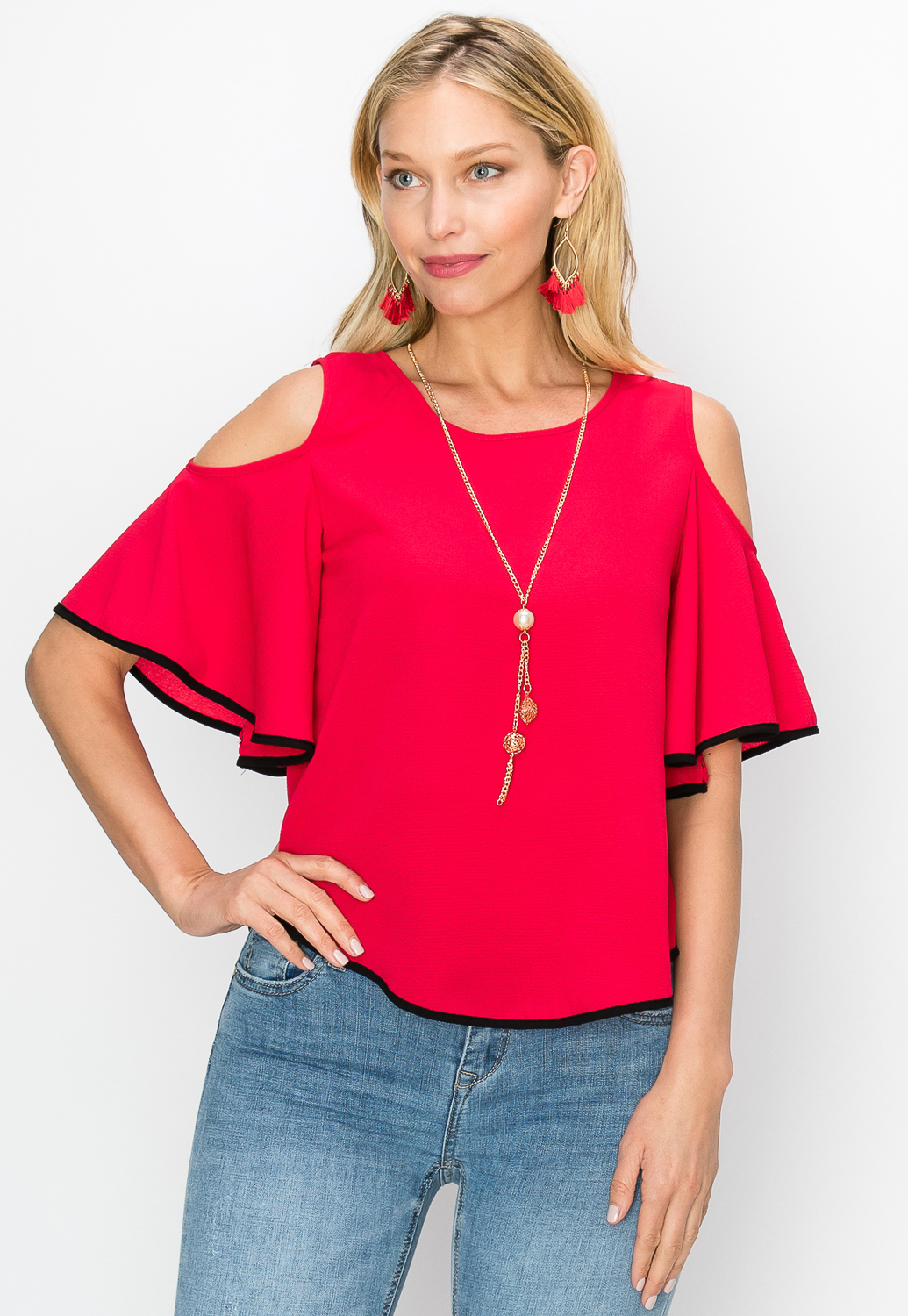 Open Shoulder W/Necklace Dressy Top