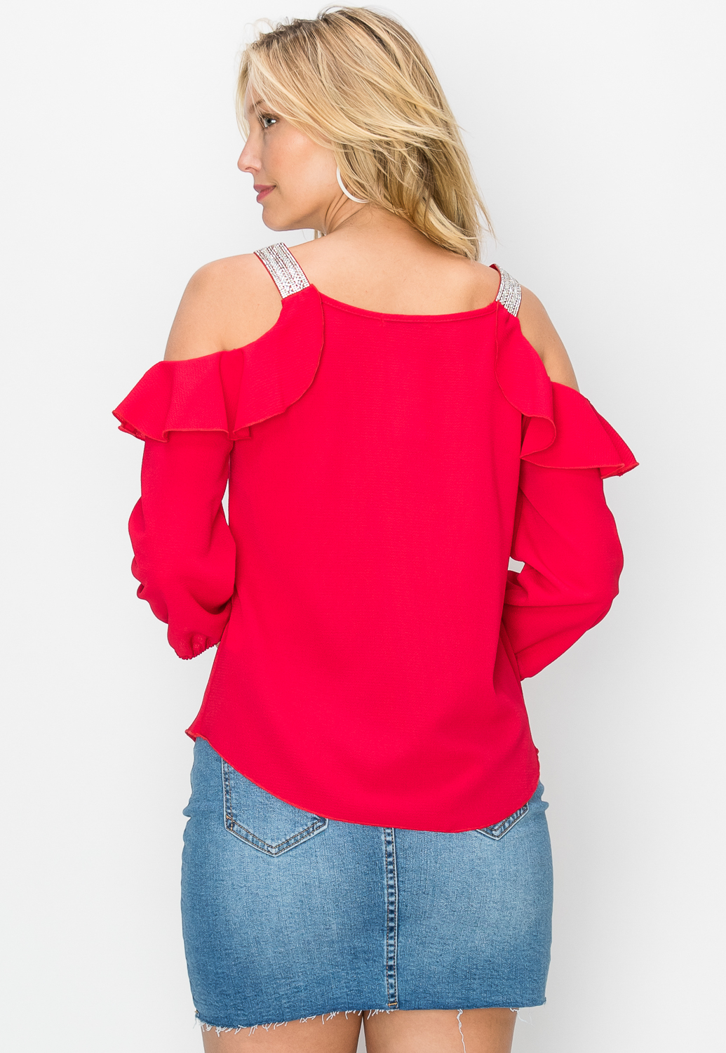 Rhinestone Embellished Ruffle Detail Top