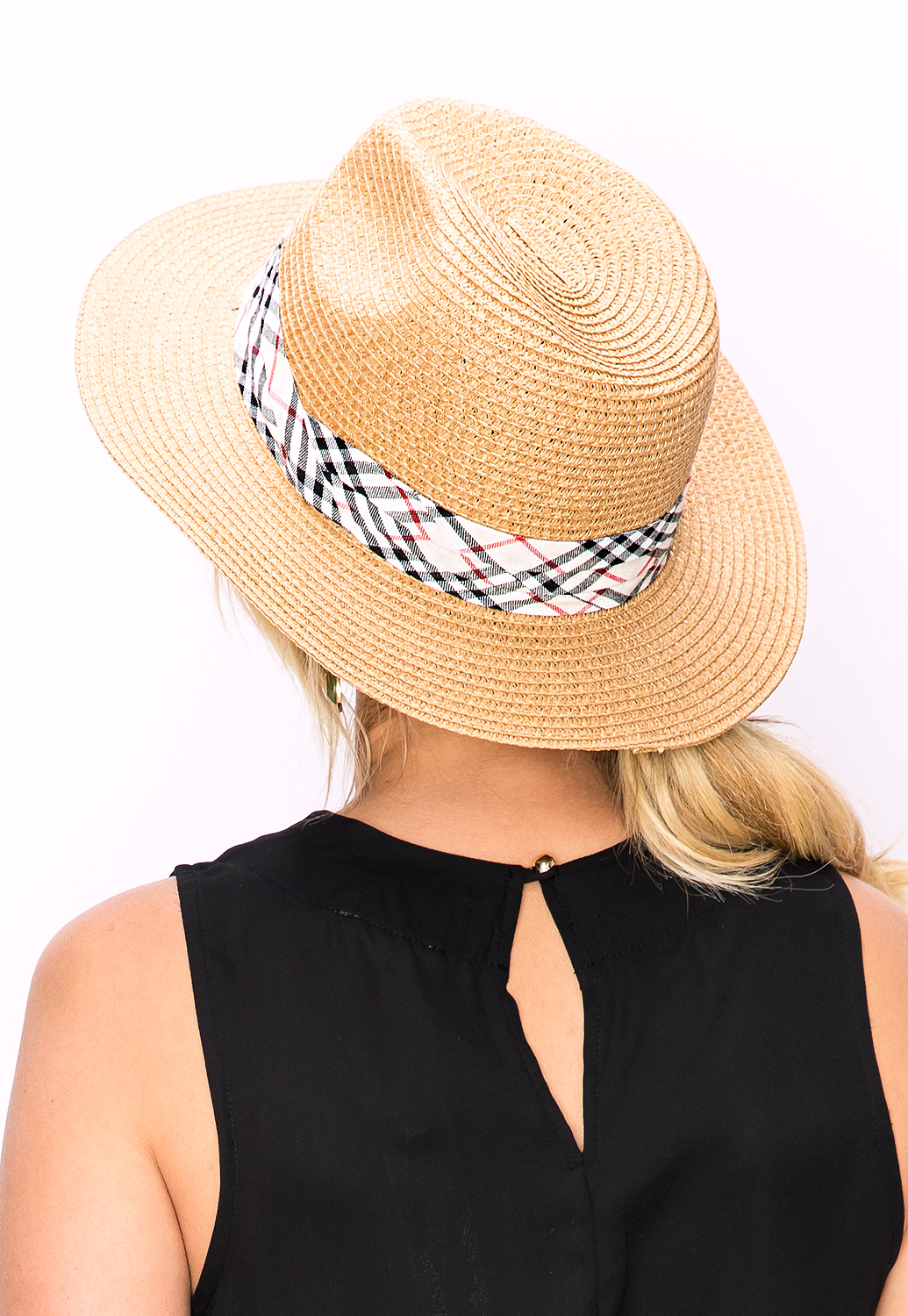Straw Hat W/ Plaid Ribbon