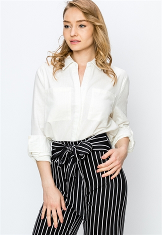 Button Up Pocket Detail Dressy Blouse