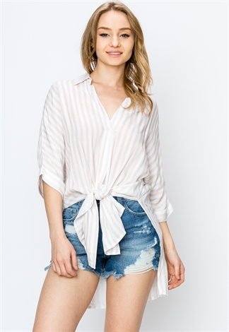 Tie-Front Pinstriped Blouse