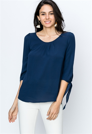 Long Sleeve Round Neck Dressy Top
