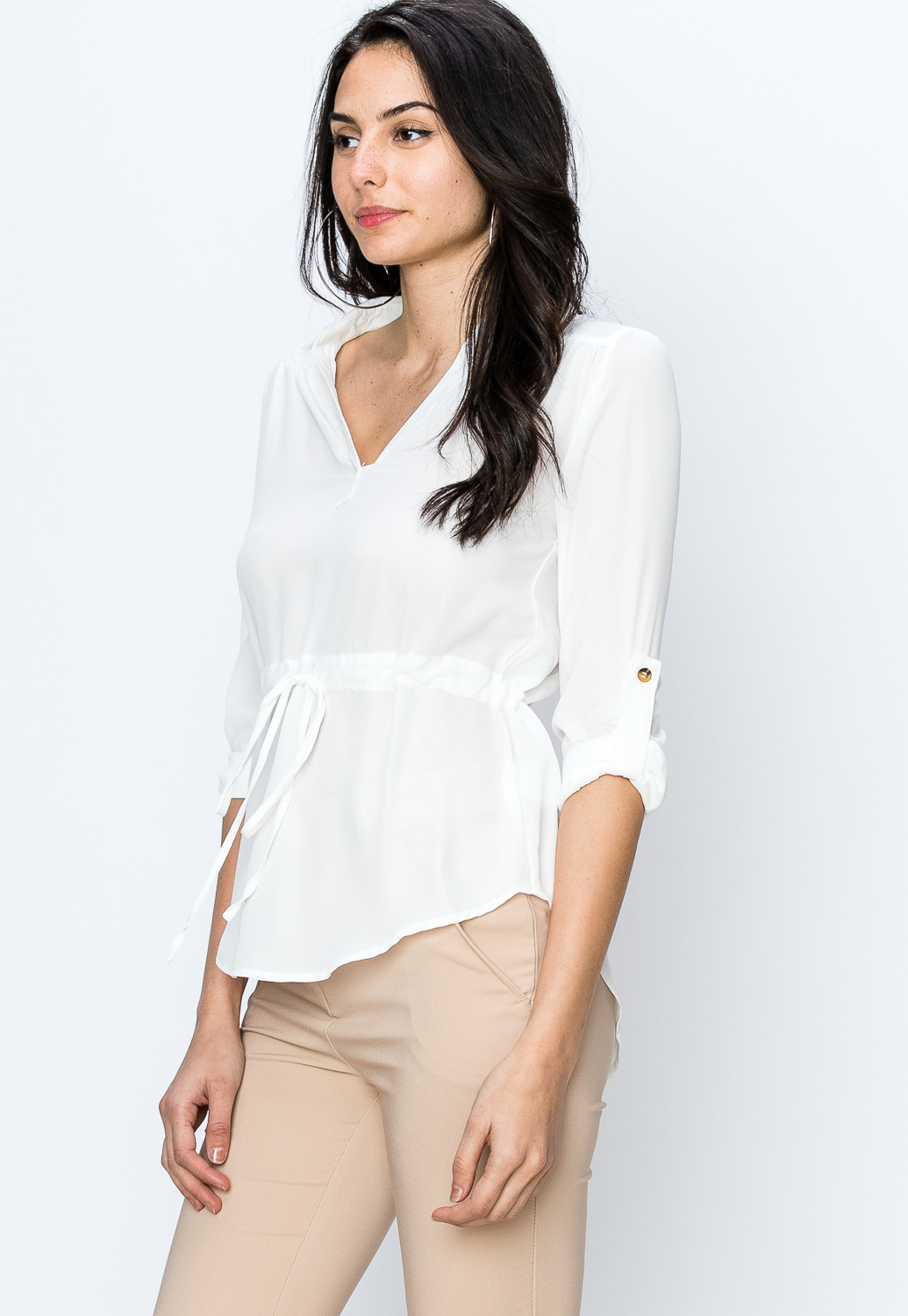 Sheer Long Sleeve Drawstring Blouse