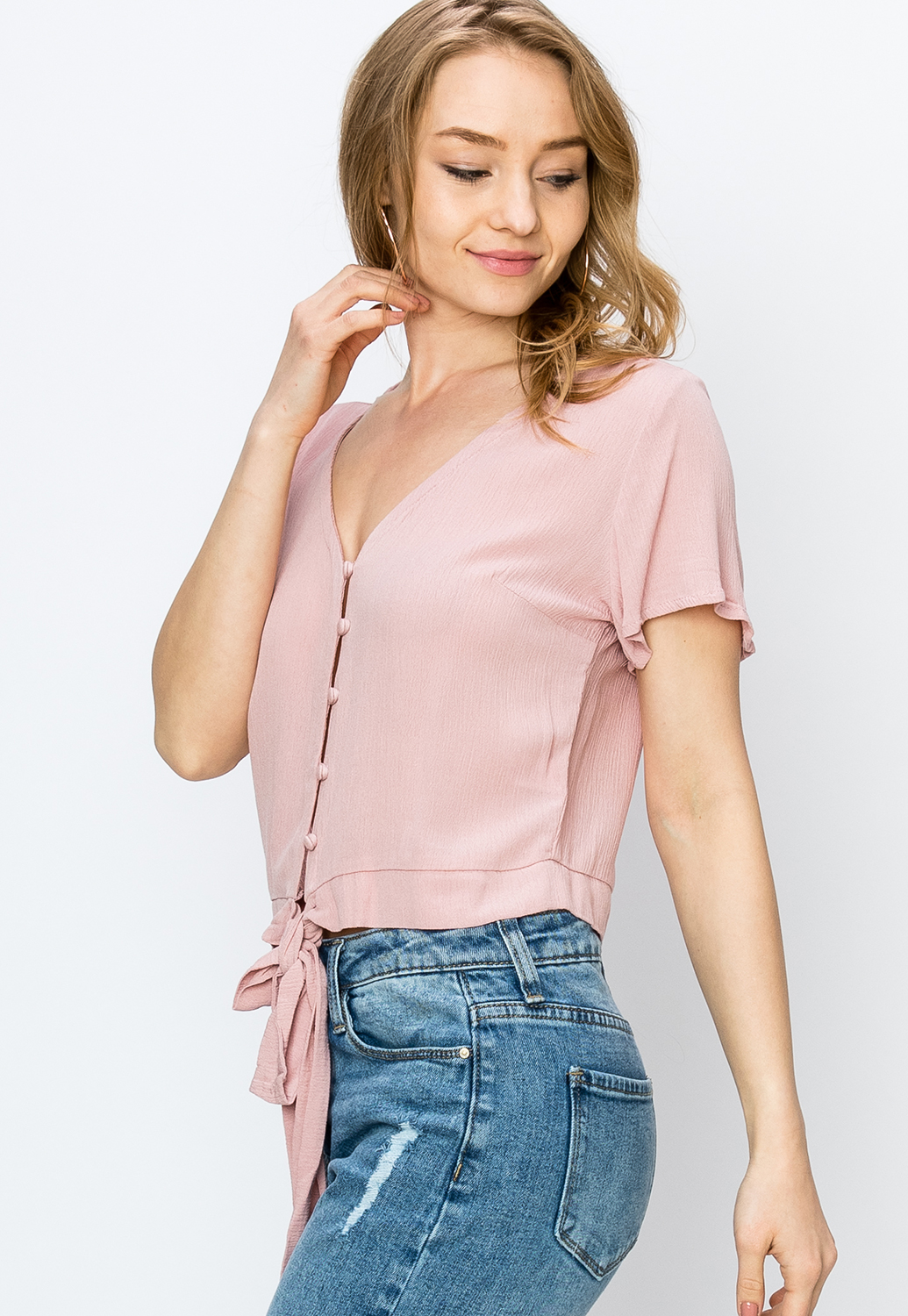 Tie Front Button Up Top