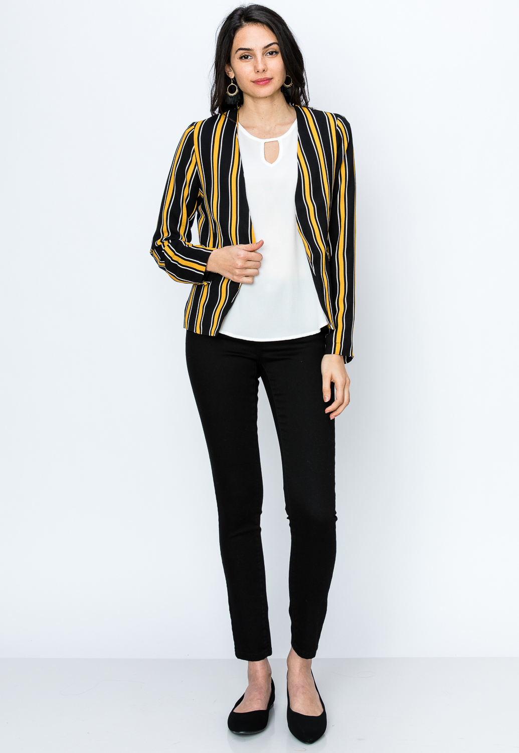 Open-Front Pinstriped Zipper Pocket Blazer