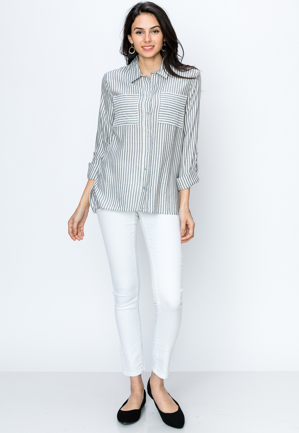 Pinstriped Button Up Casual Blouse