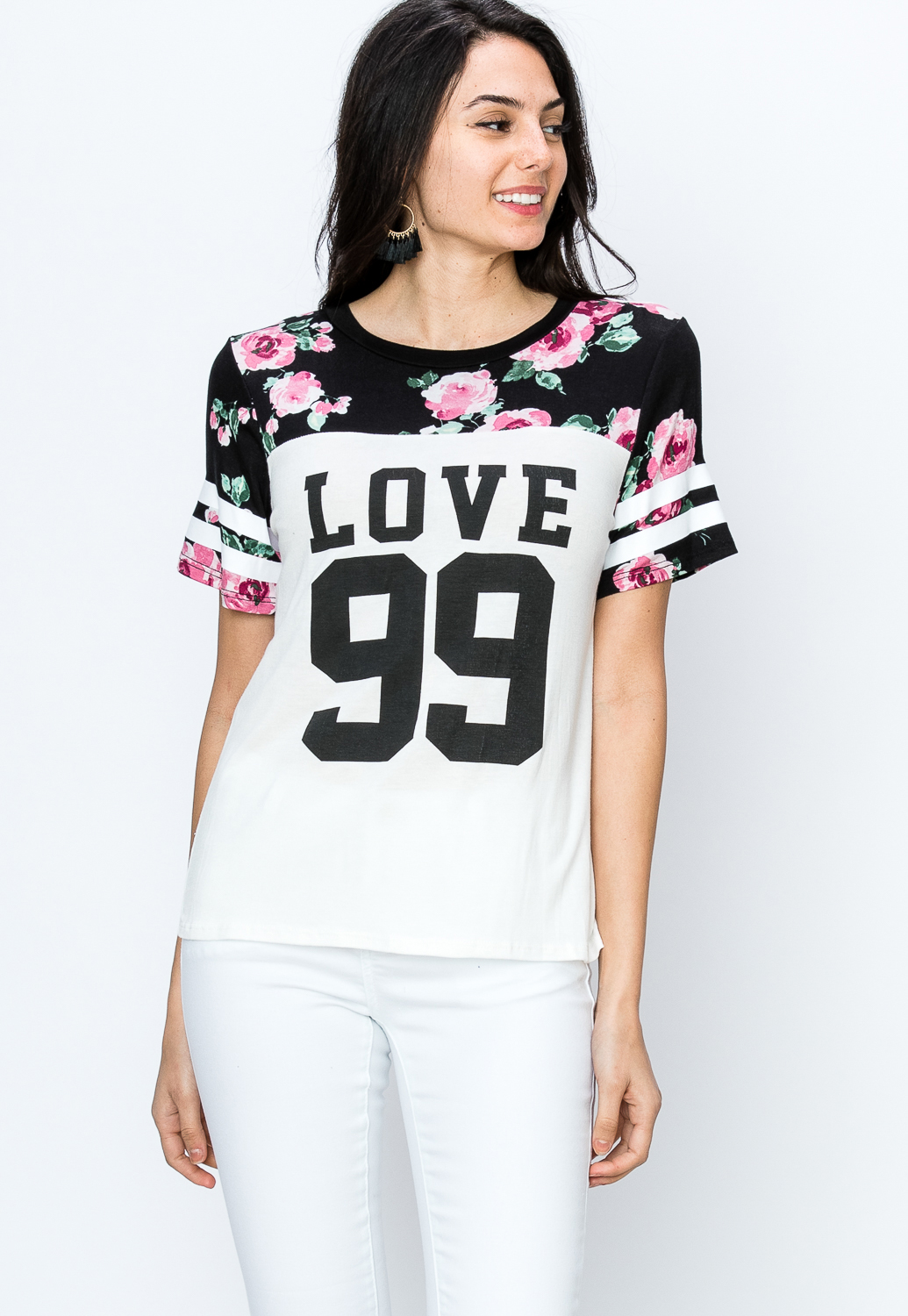 Love Graphic Varsity Striped Top