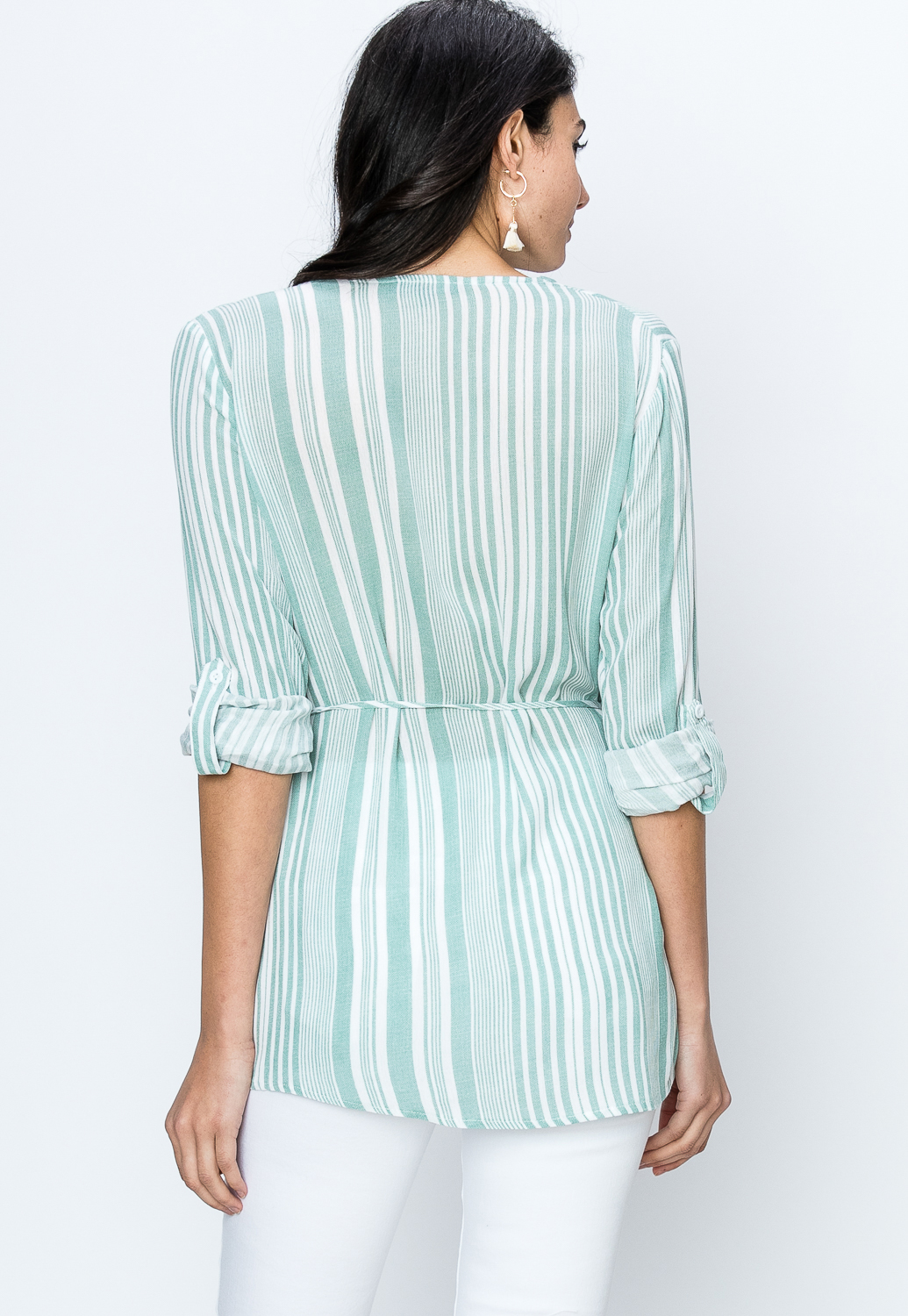 Pinstriped Self Tie Blouse