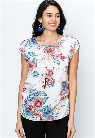 Floral W/Necklace Dressy Top