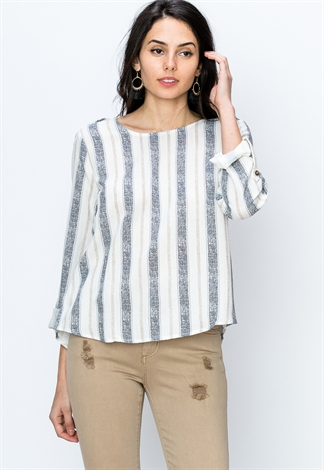 Button Back Boatneck Blouse