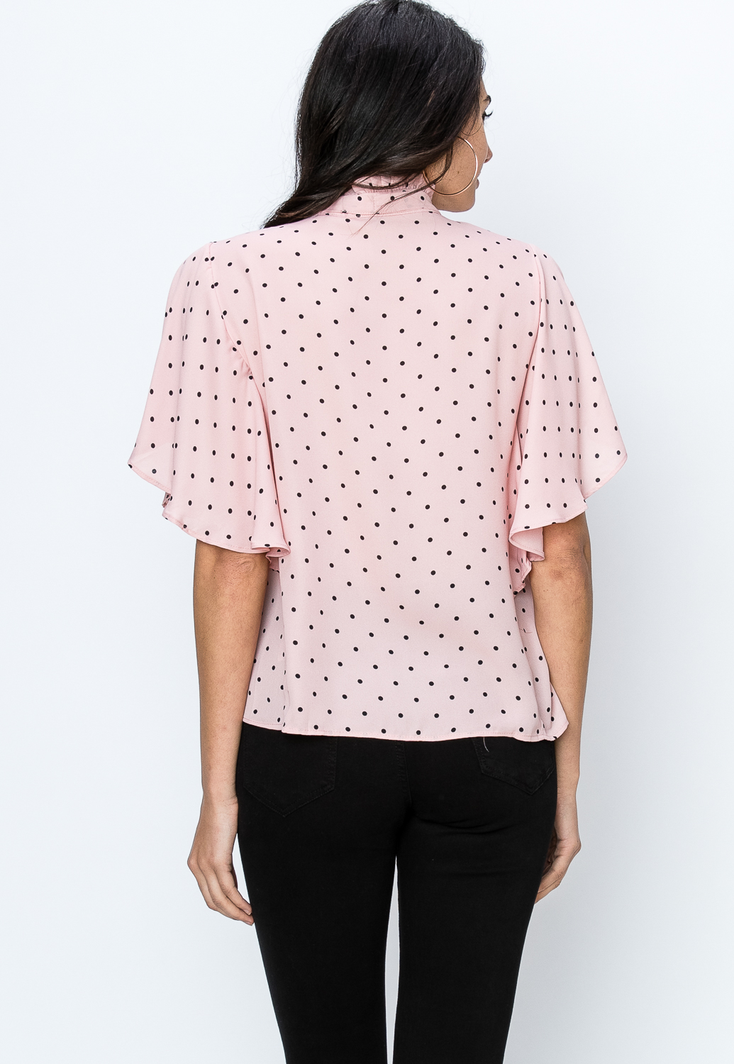 Polka Dot Button Up Dressy Top