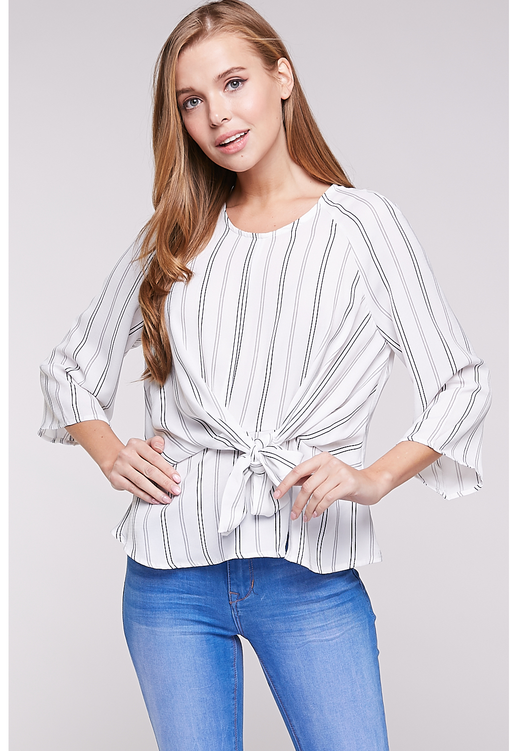 Pinstriped Tie Front Dressy Top