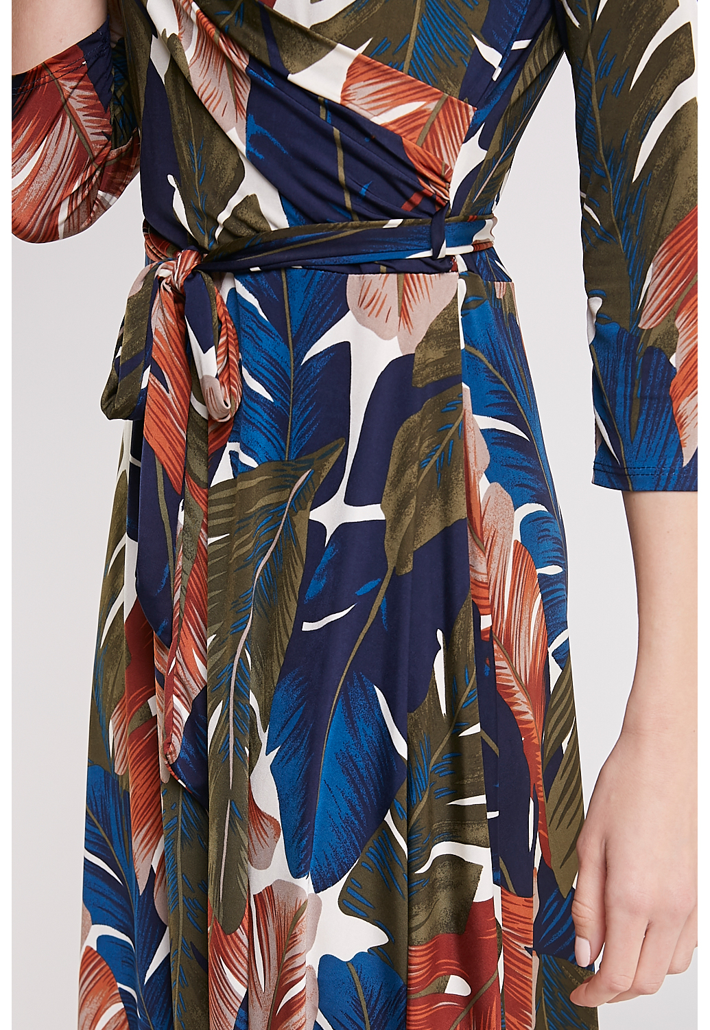Tropical-Leaf Print Mini Dress