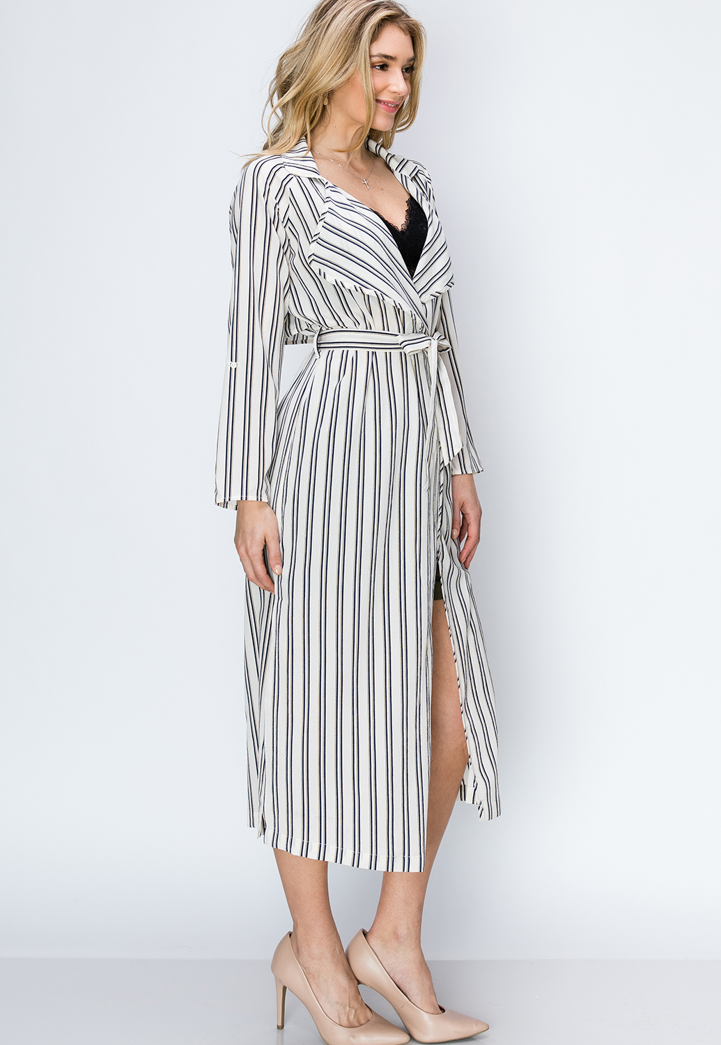 Striped Long Cardigan