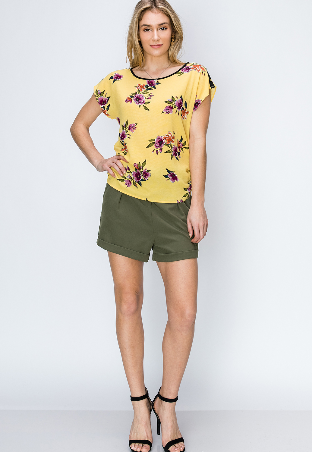 Floral Side Ruched Top