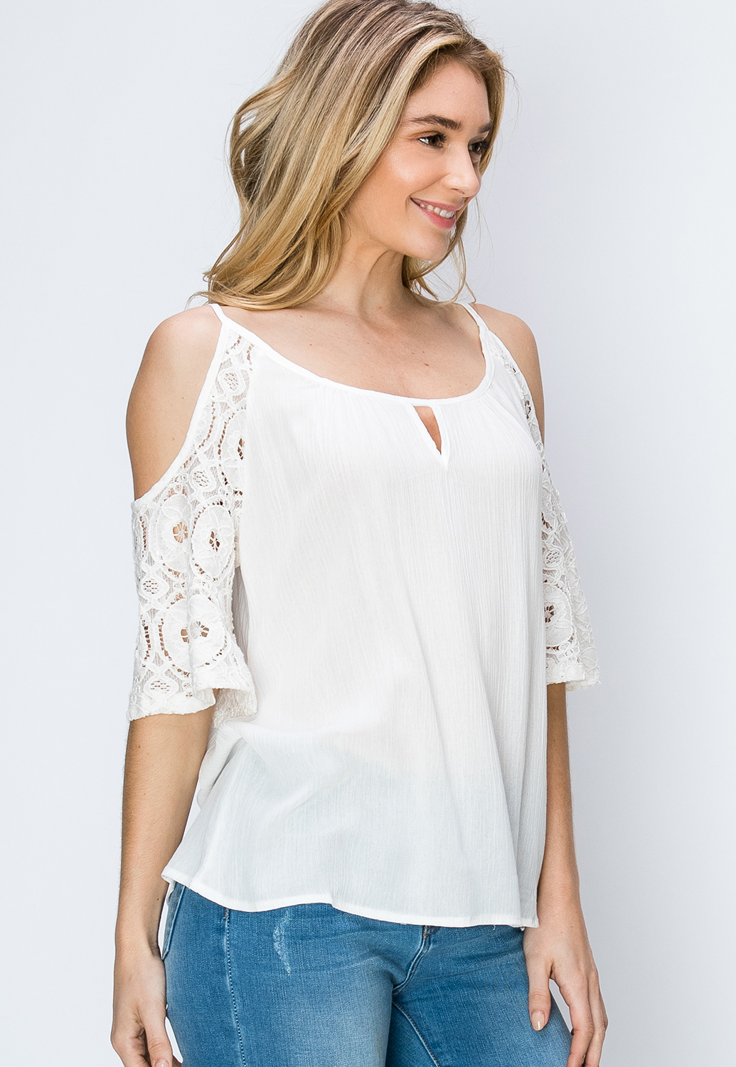 Top With Floral Lacy Sleeve