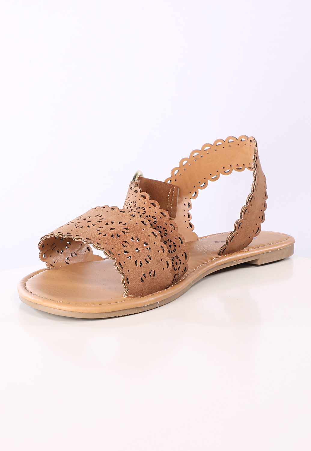 Faux Leather Cutout Sandals