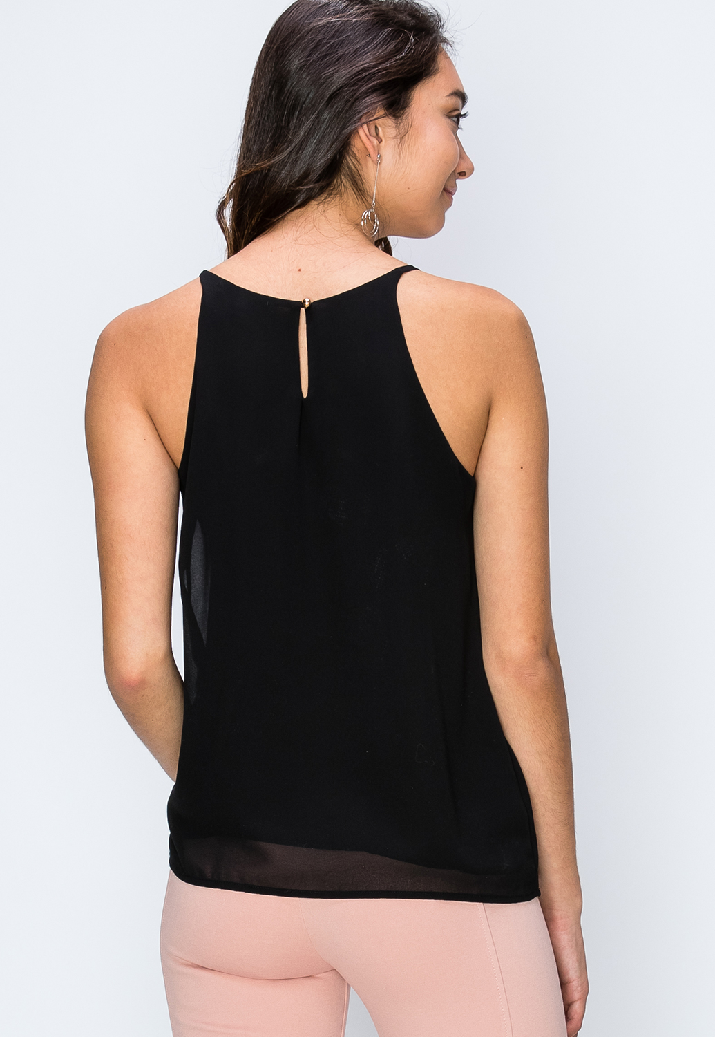 Pleated Back Keyhole Top