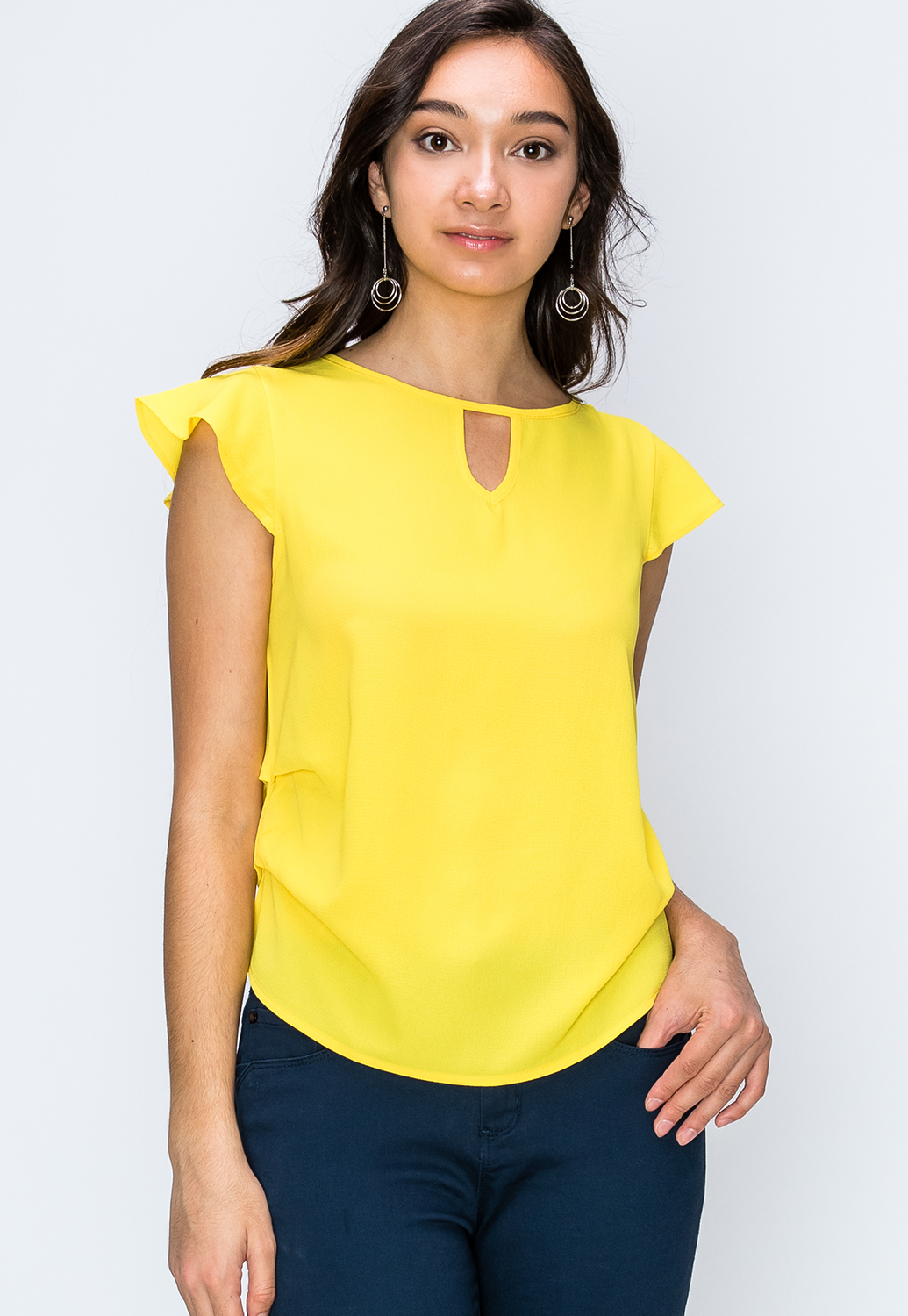 Side Ruched Keyhole Detail Dressy Top