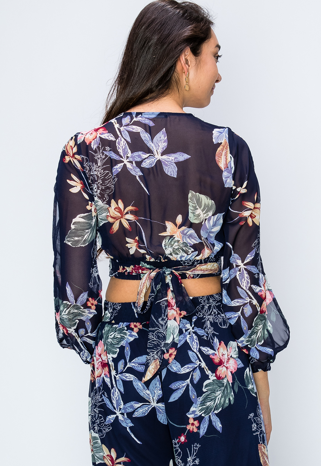 Floral Print Open Shoulder Top