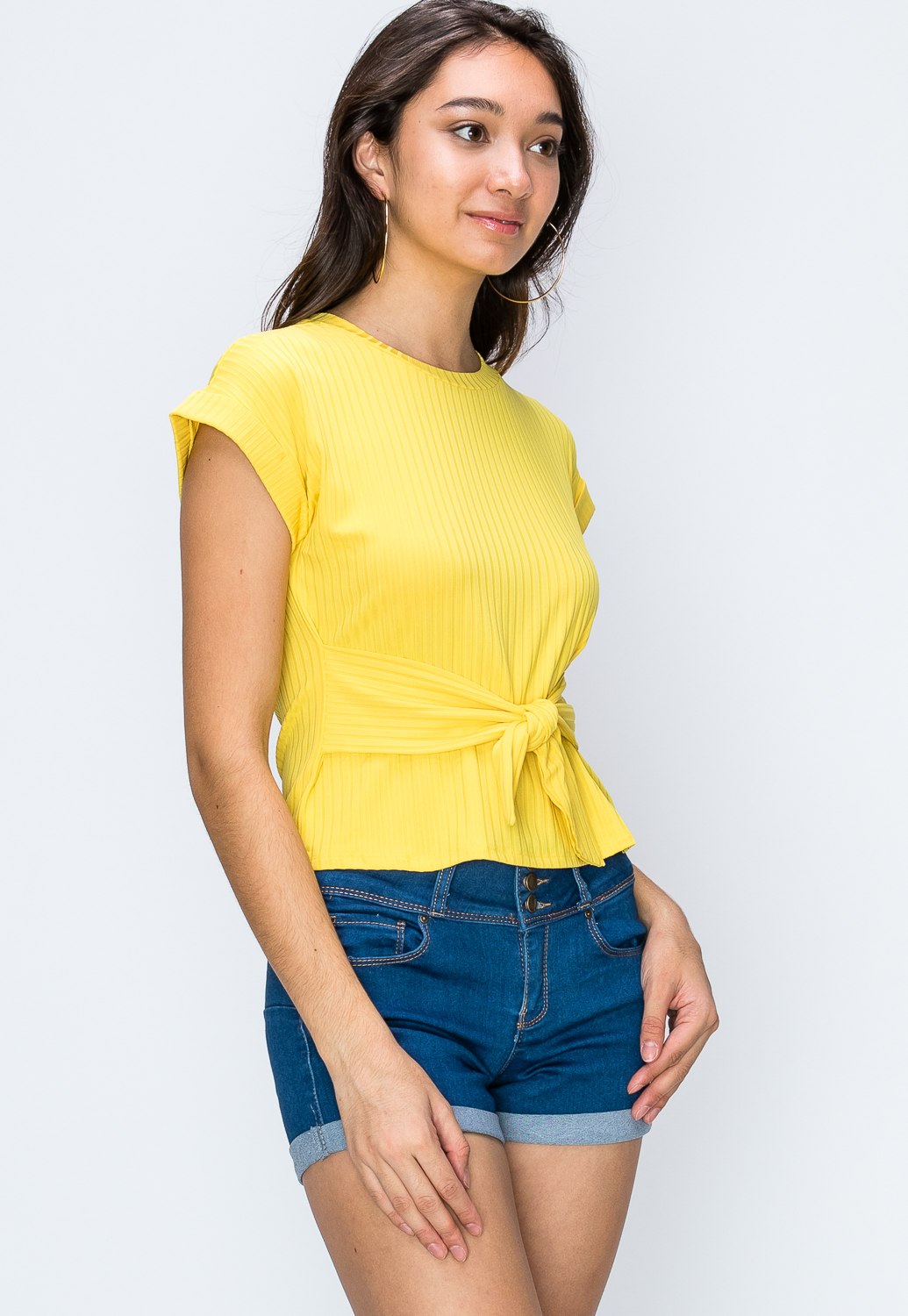 Ribbed Tie Front Casual Top